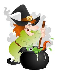 halloween witch with cauldron wood library