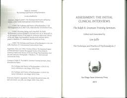 assessment the initial clinical interviews the technique and