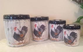 Chicken Home Decor by Rooster Canister Set 4 Piece Vintage Upcycled Canister