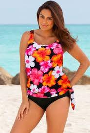 anne cole signature multi color floral high neck tankini swim top