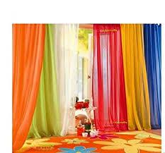 Orange Kitchen Curtains Sale Amazon Com 6 Piece Rainbow Sheer Window Panel Curtain Set Blow