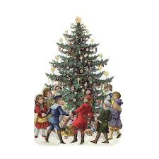 vintage christmas tree children with christmas tree die cut card from vintage ornaments