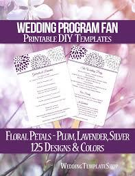wedding program fan wording wedding program fan floral petals purple plum light gray program