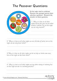 seder for children questions worksheet