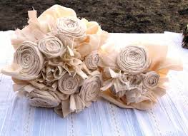 Country Shabby Chic Wedding by Wedding Bouquet Rustic Bridal Vintage Cotton Fabric Flower