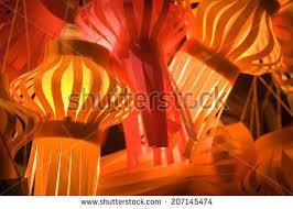 colorful decorative lamps during diwali celebration stock photo