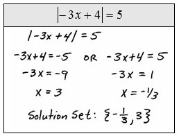 apply the usual steps for solving to obtain the absolute value