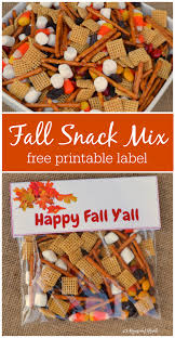 fall snack mix treat bags fall snacks free printable labels and