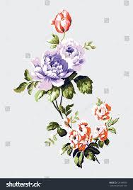 vintage bouquet vintage bouquet forget me nots roses stock vector 729198559