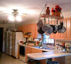kitchen island with hanging pot rack hanging pot racks solid maple handmade hanging pot rack image of