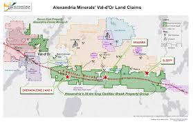 Alexandria On A Map Alexandria Minerals Cadillac Break Properties