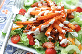 bbq chicken salad with sweet potato fries barefeetinthekitchen com