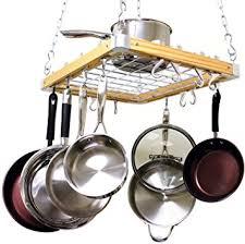 amazon com hanging pot pan rack kitchen ceiling cookware set