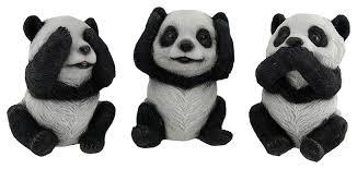 3 piece see hear speak no evil sitting baby panda bear set asian