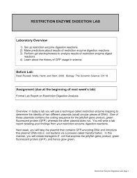 restriction enzyme digestion lab