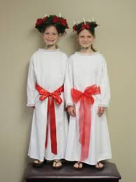 st lucia costume for girls includes dress tunic red sash