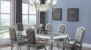 silver dining room glamour style dining in a metallic silver finish 5 piece 7