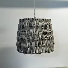 rustic distressed white washed wicker pendant light the farthing