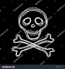 halloween web template skull doodle crossbones hand drawn logo stock illustration