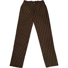 brown cotton fendi jeans vestiaire collective