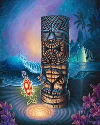 Hawaii exotic travelers images Exotic traveler canvas giclee tiki shark art by brad parker jpg