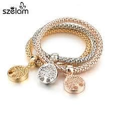 charm bracelet gold vintage images Szelam tree of life gold charm bracelets vintage designer 3pcs jpg