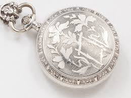 Engravable Sterling Silver Charms Victorian Pocket Watch Case Necklace In Sterling Silver With