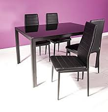 Houston Dining Set Modern Black Glass Table And  Black Faux - Houston modern furniture