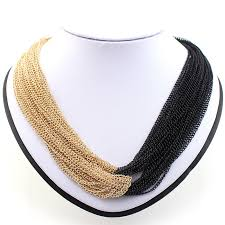 black gold necklace jewelry images Mn185 fashion simple design tassel necklace handmade black gold jpg
