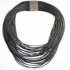 rope necklace black images Black multi strand rope necklace with magnetic clasp jpg