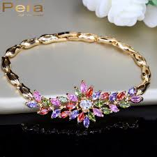 multi colored gold bracelet images Pera african women jewelry multi color cubic zirconia stone jpg