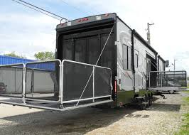 garage for rv 2015 cyclone thor 4200 toy hauler fifth wheel rv ramp door garage