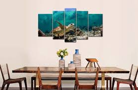 amazon com blue 5 panel wall art painting underwater turtle