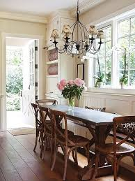 Small Room Chandelier Cottage Dining Room With Window Seat By Cindy Bolt Zillow Digs