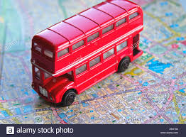 Map Of London England by Red Bus On Map Of London England Britain United Kingdom Uk Stock