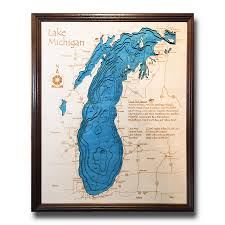 Map Of Michigan Lakes Lake Michigan 3 D Nautical Wood Map On Tahoe Time