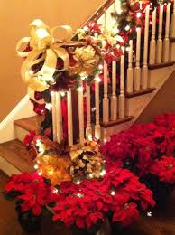 Handrail Christmas Decorations 83 Best Christmas Stairs Decorating Images On Pinterest