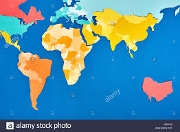 World Continents And Oceans Map by World Map Cut Out Of Colored Paper Based On Blue Applique And