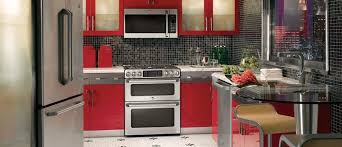 kitchen modern red kitchen cabinet with black and gray backsplash