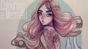 mermaid colouring over pencil sketch youtube