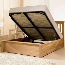 monaco solid oak ottoman storage bed frame