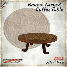 Carved Coffee Table Second Life Marketplace Ginger Line Round Carved Coffee Table