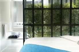 white towel bath set indoor garden glasses wall hexagon wall tiles