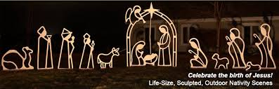 large outdoor nativity jesus manger wood