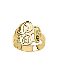 monogram ring gold monogram handwritten personalized initial ring olive piper