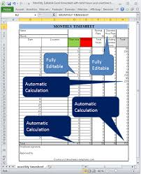 Automated Timesheet Excel Template Monthly Editable Excel Timesheet With Automatic Calculation Of Total Hours And Overtime Hours Based On Different Rates Png