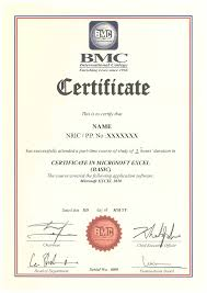 certificate in microsoft excel basic bmc international college