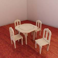 table and chairs for barbie vector model for cnc router and