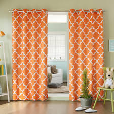 orange curtains for living room that beautify the grey walls in