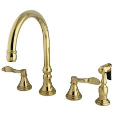 kingston brass french 2 handle standard kitchen faucet with side